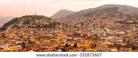 Historic Center Of Quito Panorama By Night - stock photo