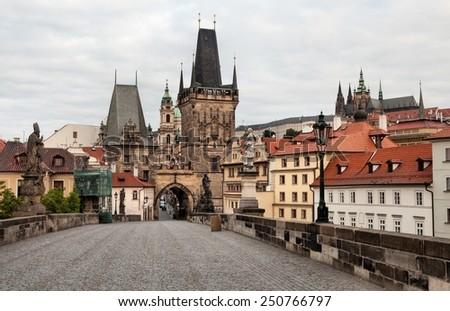 Historic Charles Bridge in Prague, Czech Republic - stock photo