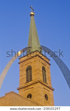 Historic Christ Cathedral Church and St. Louis Arch, MO - stock photo