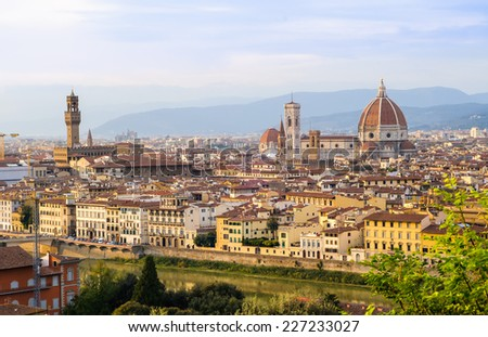 Historic City Centre of Florence. Sunset view of Florence, Tuscany, Italy.  - stock photo