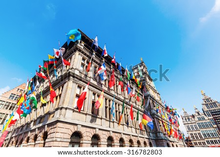 historic city hall at the Grand Market Square in Antwerp, Belgium - stock photo