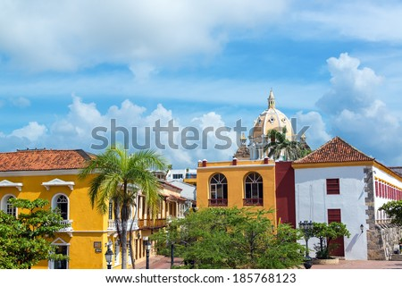 Historic colonial buildings and San Pedro Claver church in the center of Cartagena, Colombia - stock photo