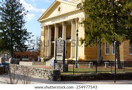 Historic Courthouse in Hendersonville, North Carolina, built in 1904                               - stock photo