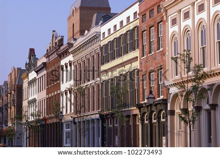 Historic district buildings - stock photo
