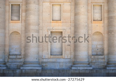 Historic facade in San Lorenzo del Escorial Abbey. Landmark - stock photo