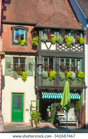 Historic facade in the old town of Gengenbach, Black Forest, Baden-Wuerttemberg, Germany, Europe - stock photo