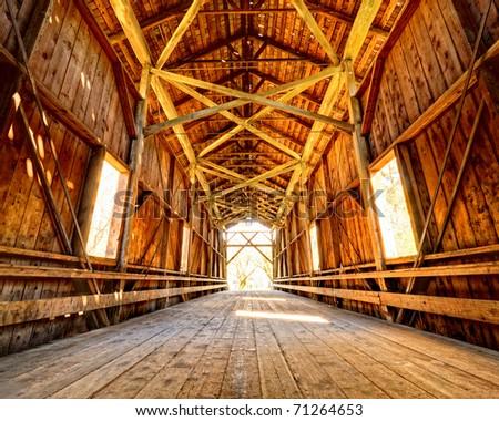 Historic Felton Covered Bridge in Felton, California. - stock photo