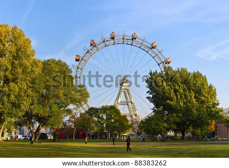 historic Ferris Wheel of vienna prater park - stock photo