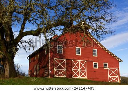 Historic Fiechter Barn at William L. Finley Wildlife Refuge, Oregon - stock photo