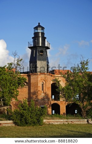 Historic Garden Key Lighthouse in Dry Tortugas National Park, Florida - stock photo