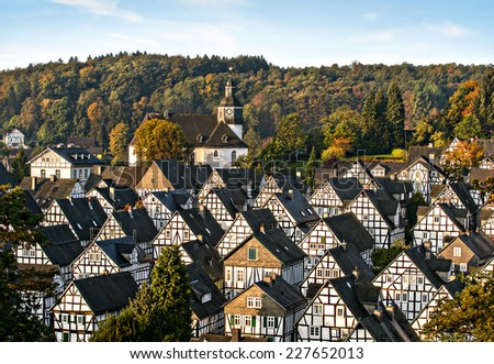 historic german fachwerkhaus buildings, Freudenberg - stock photo