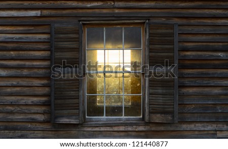 Historic Henry House at Manassas National Battlefield Park during sunset - stock photo