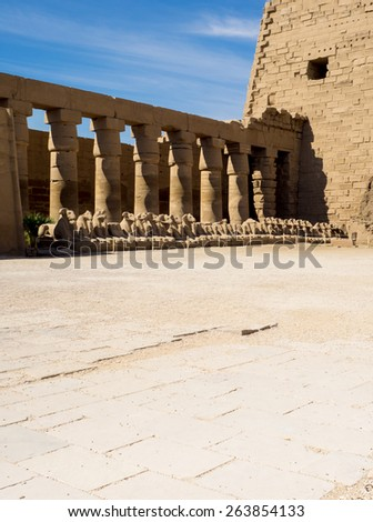 Historic heritage of the Misr - egyptian columns in Karnak Temple. Ruins of the ancient temple of the great Egyptian civilization in Luxor. Tourist routes to Egypt - travel to ancient history. - stock photo