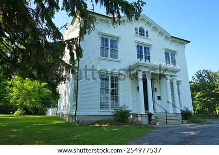 Historic Home of Captain Nathaniel Palmer who discovered Antartica. Built in 1852 and located in Stonington, Connecticut, USA - stock photo