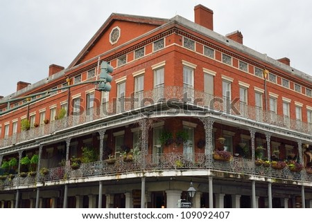 Historic house in the French Quarter of New Orleans - stock photo