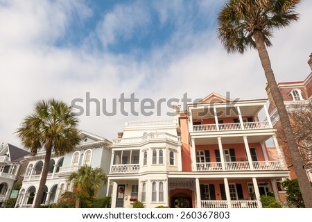 Historic houses along Battery st in Charleston, South Carolina - stock photo