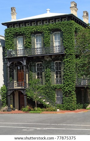 Historic Ivy Covered home in Savannah Georgia - stock photo