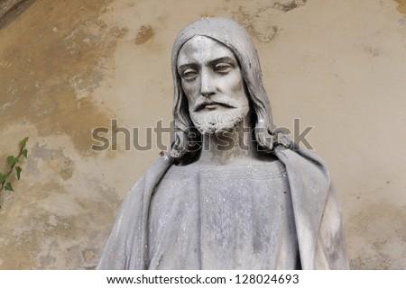 Historic Jesus on the old Prague Cemetery, Czech Republic - stock photo