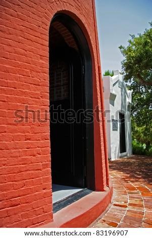 Historic Jupiter Inlet Lighthouse (1860) Entrance, Jupiter, Florida - stock photo