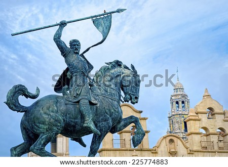 Historic Landmark Statue at Balboa Park San Diego California, USA - stock photo
