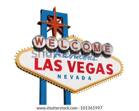 Historic Las Vegas Welcome sign isolated on white. - stock photo