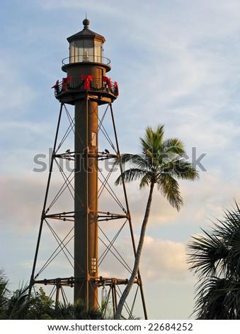 historic lighthouse at dusk Sanibel Island Florida - stock photo
