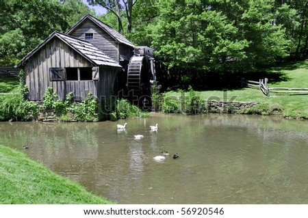 Historic Mabry Mill is a beautiful working watermill located in Floyd County Virginia, on the Blue Ridge Parkway. - stock photo
