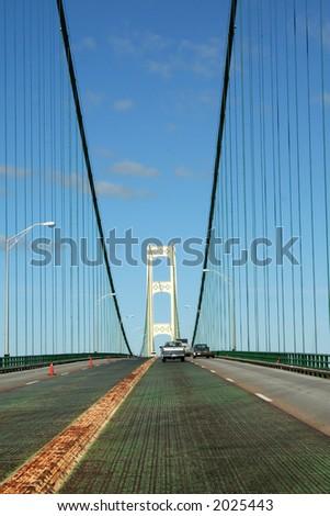 Historic Mackinac bridge -Longest bridge in America - stock photo