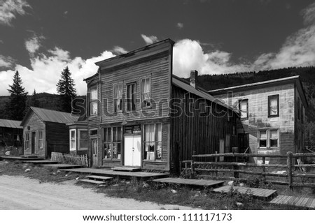 Historic Mining Town Buildings in Ghost Town of St. Elmo, Colorado, USA - stock photo