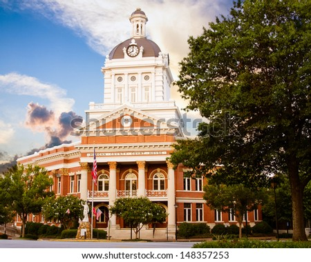 Historic Morgan County Courthouse in Madison, Georgia - stock photo
