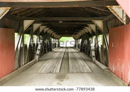 Historic New england covered bridge - stock photo