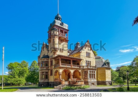 Historic old building with decorative details in Djurgarden in Stockholm. Built in 1873 as a home in Italian style, located on the island of Djurgarden in Stockholm  - stock photo