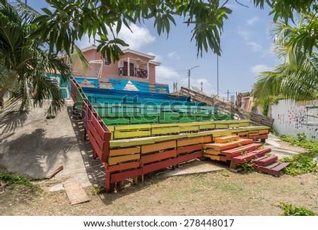 Historic old buildings around Petermaai - Curacao ( Dutch Antilles)  an island in the Caribbean Ocean  - stock photo