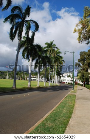 Historic Palm Circle, Army Base, Honolulu, Oahu, HI - stock photo