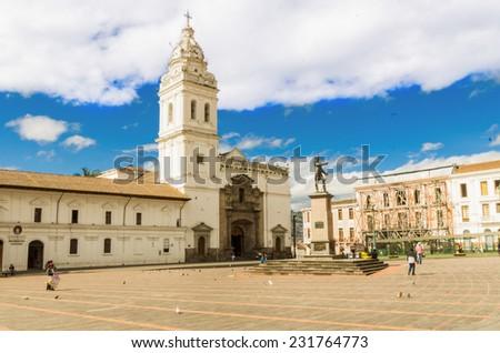 Historic Plaza de Santo Domingo in old town Quito Ecuador South America - stock photo