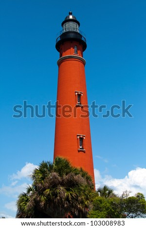 Historic Ponce De Leon Lighthouse, located in central Florida, near Port Orange and Daytona Beach - stock photo