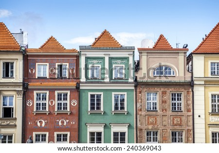 Historic Poznan City buildings located on a main square, Poland - stock photo