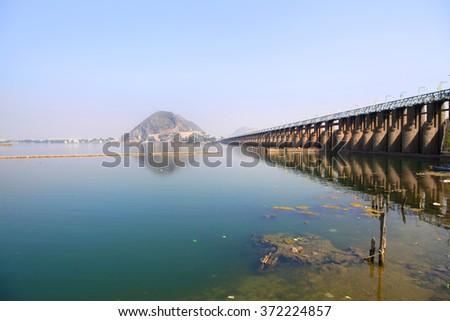 Historic Prakasam barrage bridge in India - stock photo