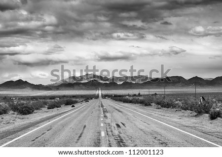 Historic Route 66 in Mojave desert, CA - stock photo
