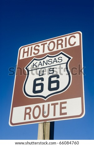 Historic Route 66 sign from the state of Kansas - stock photo