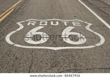 historic Route 66 sign on asphalt road  at national trails highway, California, USA - stock photo