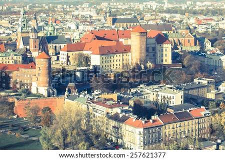 Historic royal Wawel castle in Krakow, Poland. - stock photo