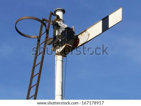Historic semaphore railway signal on the Settle to Carlisle Railway, UK.  - stock photo