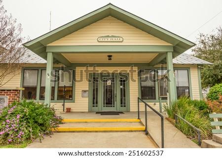 Historic small town city hall in Cedar Key, Florida - stock photo