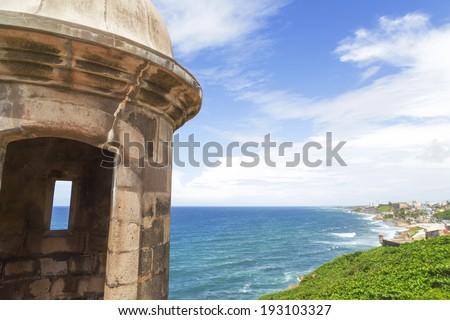 Historic Spanish sentry box overlooking San Juan bay and coast, Puerto Rico - stock photo