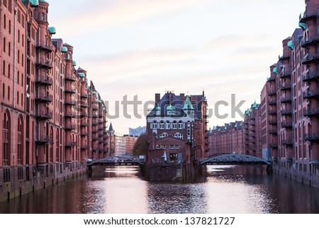 Historic Speicherstadt (houses and bridges) at the evening in Hamburg - stock photo
