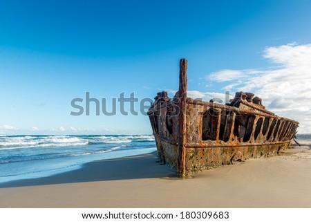Historic SS Maheno Wreck, Fraser Island - Australia - stock photo