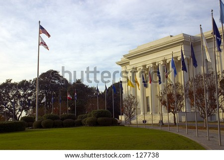 Historic State Capitol building located at Montgomery Alabama AL - stock photo