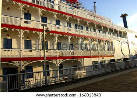 Historic Steam River Boat - now a multi-purpose space - on Fraser River New Westminster Boardwalk BC - stock photo