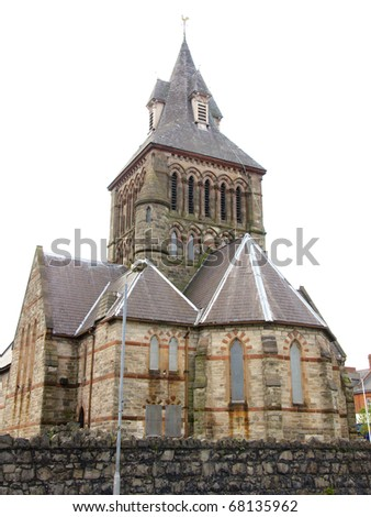 historic stone building with a steeple in Belfast - stock photo